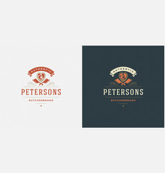 butcher shop logo meat steak vector image