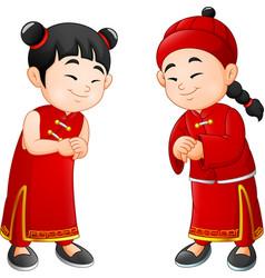 Cartoon chinese kids vector