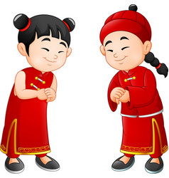 cartoon chinese kids vector image