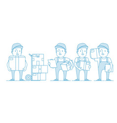 Character delivery man with cardboard box vector