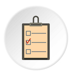 Checklist with box and red mark icon circle vector