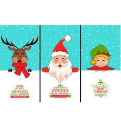 cheerful santa claus christmas deer baby elf vector image