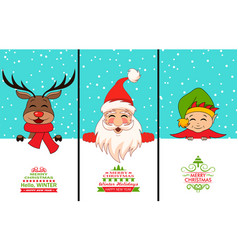 cheerful santa claus christmas deer baelf vector image