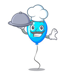chef with food party balloon blue mascot the vector image