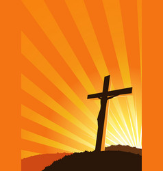 Christian cross silhouette vector