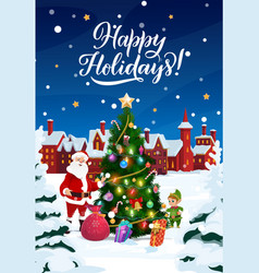 christmas tree in snow santa with gifts and elf vector image
