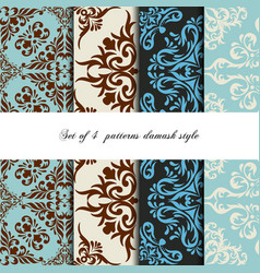 collection 4 seamless pattern vintage style vector image