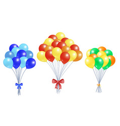 Collection bunches of helium colorful air balloons vector