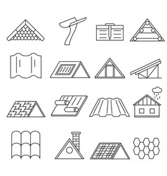 concept house roof construction thin line icon set vector image