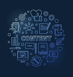 content blue round concept outline vector image