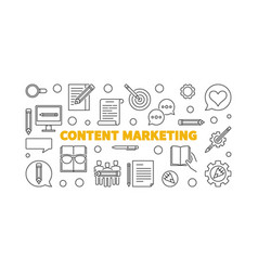 content marketing line concept horizontal vector image