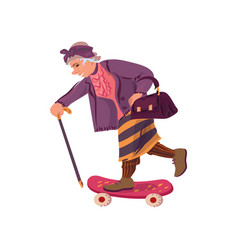 Cute funny granny with walking stick riding vector