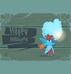cute kid wear fairy costume happy halloween vector image
