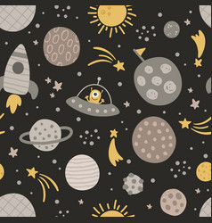 Cute seamless pattern with cute planets vector