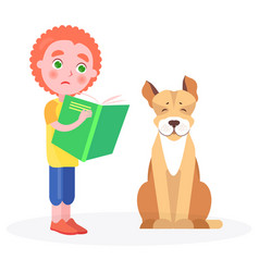 distressed curly boy stands with book and dog vector image