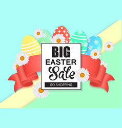 Easter sale colorful banner with eggs and ribbon vector