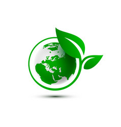 Ecology organic green planet earth sign on a vector