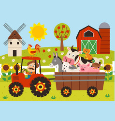 farmer and farm animals riding a tractor vector image