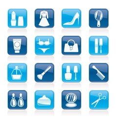 Female objects and accessories icons vector