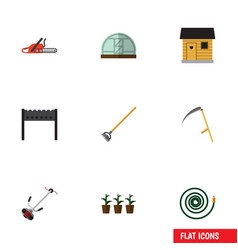 Flat icon dacha set of tool stabling hothouse vector