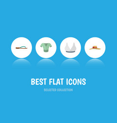 flat icon dress set of elegant headgear beach vector image