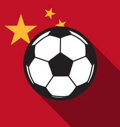 football icon with China flag vector image