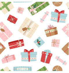 gift box seamless pattern present packs vector image