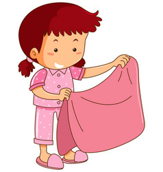 Girl in pink pajamas holding pink blanket vector