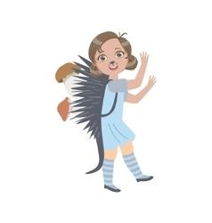 Girl Wearing Hedgehog Animal Costume vector