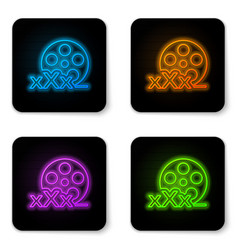 glowing neon film reel with inscription xxx icon vector image
