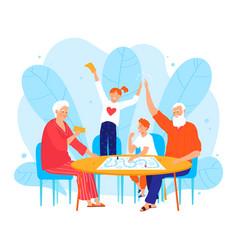 Grandchild character people visit grandparent vector