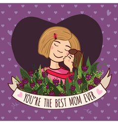 Greeting card to the best blonde mom ever vector