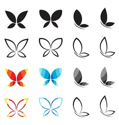 Group of butterfly vector
