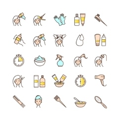 Hair dyeing icons set vector