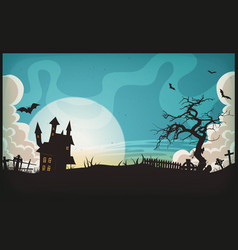 halloween landscape background vector image