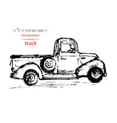 Hand-drawn vintage transport truct quick ink vector