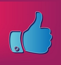 hand sign blue 3d printed vector image