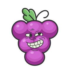 happy cheerful trolling grape cartoon character vector image