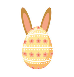 happy easter egg painted with ears rabbit vector image