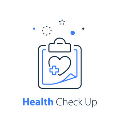 Health check up heart system exam vector