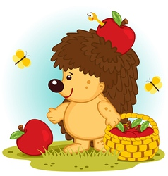 Hedgehog with basket of apples vector