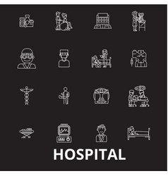 hospital editable line icons set on black vector image
