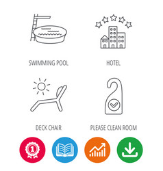 hotel swimming pool and beach deck chair icons vector image
