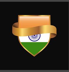 India flag golden badge design vector