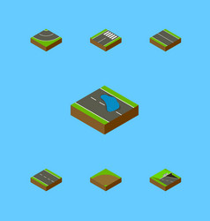 Isometric road set of plash road flat and other vector