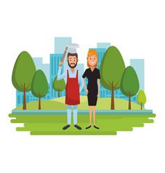 Labor day couple cartoon vector