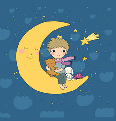 Little prince is sitting on moon cute vector