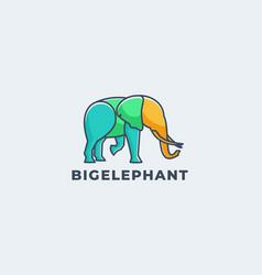logo big elephant line art style vector image