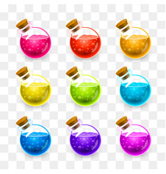 magic flasks color set on a transparent vector image