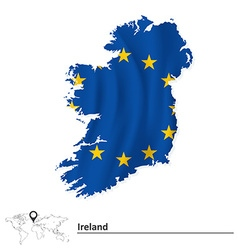 Map of Ireland with European Union flag vector image